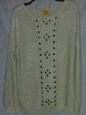 Ruby Rd. woman SWEATER REPORT II beaded ivory/gold 3x NWT