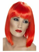 Smiffys Glam Wig Short Blunt with Fringe - Neon Red