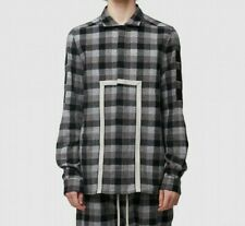 MENS RICK OWENS OFFICE CHECK PLAID W/PATCHES GREY SHIRT (SA2) RRP £914.99