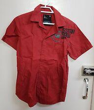 Brand new g star raw denim short sleeve mens shirt dress casual clothes red base