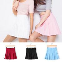 XS-XL Women Girl Slim Solid Thin High Waist Pleated Tennis Skirts Mini Dress