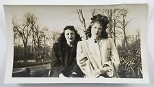 Vintage Snapshot Photo Two Beautiful Woman Wearing Coats 1947 Vintage Fashion