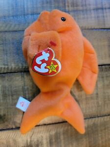 TY Beanie Babies Goldie Fish 1993/1994 Tag Errors P.V.C. Pellets RARE