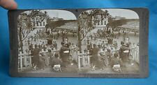 Japanese Stereoview Schoolhouse & Grounds Children Playing Yokohama Japan
