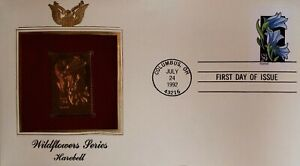 First day cover stamp harebell 1992 wildflowers series 22kt Gold