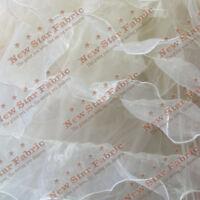 "Ivory Ruffles Organza Fabric 56"" / 58"" Width By The Yard Bridal Gown"