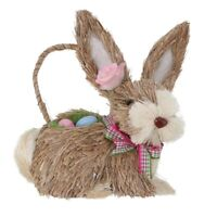 Exquisite Adorable Easter Rabbit Decor Straw Woven Hand-woven Bunny Ornament