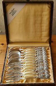 Hildesheimer Rose 6x Kuchengabeln, 6x Kaffeelöffel Besteckkasten B&A 90 Silber