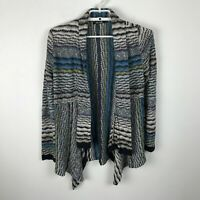 Nic + Zoe Cardigan Sweater Size S Black Gray Teal Open Front Long Sleeve Linen