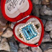 Estate 10. CT Aquamarine & Diamond Cocktail Wedding Ring In 14K Yellow Gold Over