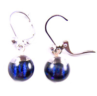 "DICHROIC Glass Earrings Clear Cobalt Blue Navy Striped Lever Dangle 1/4"" 9mm"