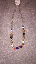 RIVER ISLAND necklace Beads Gold Chain Summer Holiday Beach Glam Orange Purple