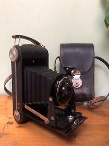 Vintage Kodak Six-20 Antique Folding Film Camera & Leather Case