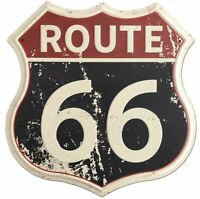 "Route 66 Rustic Retro Road Polygon Metal Tin Sign 12"" x 12"""