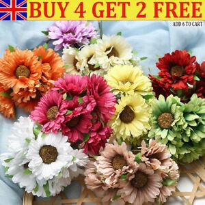 6Head Artificial Silk Gerbera Daisy Flower Fake Bouquet Wedding Home Decorati QN