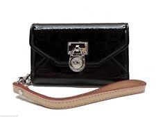 Michael Kors Black Patent Leather Logo Wristlet Small Wallet Clutch Card Case