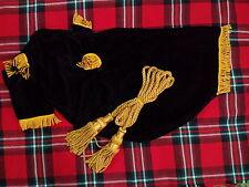 NEW SCOTTISH GREAT HIGHLAND BAGPIPE BAG COVER BLACK VELVET + GOLDEN BAGPIPE CORD