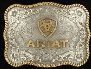 Ariat Western Mens Belt Buckle Logo Silver Gold Filigree Rope Edge A37007