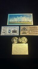 US SELLER>5Pc.LOT~GOLD DUBAI-Banknote W/COA+COIN&FLAKE+.999 SILVER Shot~FREE-S&H