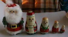 "Vtg 5 Pc Russian Nesting Dolls Matryoshka Santa Claus Hand Painted/Carved 6"""
