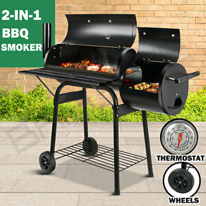 2in1 BBQ Smoker Charcoal Grill Roaster Portable Offset Outdoor Camping Barbecue