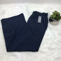 New JM Collection Pull On Seer Sucker Pants Womens Sm Blue Elastic Waist $49
