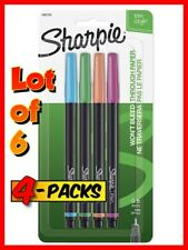 6x SHARPIE (Sanford) 1802224 Fine Point Pen Stylo 4-Pack (Assorted Colors) NEW