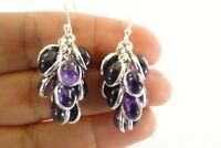 Purple Amethyst Cluster 925 Sterling Silver Dangle Drop Earrings