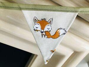FRYETT'S WOODLAND ANIMALS FOX OWL FABRIC BUNTING 12CM X 15CM 8 FLAGS  200CM