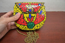 GOLD TURQUOISE RED CORAL BLUE LAPIZ LOOK HANDMADE METAL PURSE T-1181D