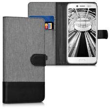 kwmobile Schutz Hülle Stoff für HTC 10 evo Grau Schwarz Case Cover Kunstleder