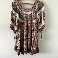 Free People Urban Outfitters Floral Top Boho Hippy Festival Pockets Sz XS