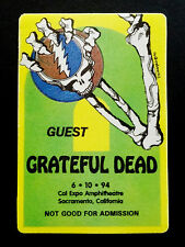 Grateful Dead Backstage Pass Dead Skeleton Cal Expo 6/10/1994 CA Steal Your Face
