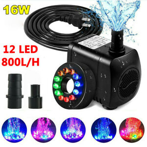 Submersible Water Pump With 12 LED Light For Fountain Pool Garden Pond Fish Tank