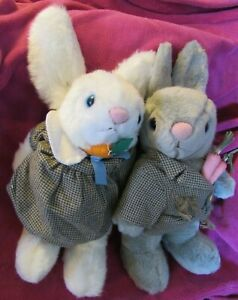 """VINTAGE SNUGGLE BUNNY RABBIT BEAR PAIR LOT TWO NORTH AMERICAN HARES CO 13"""" PLUSH"""
