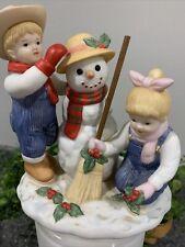 Home Interiors 2003 Denim Days 56072 Holiday Time Snowman Homco Figurine