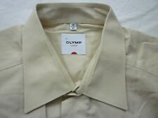 E7921 Olymp Luxor Businesshemd Kombimanschette 41 beige Unifarben Neuwertig