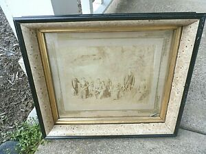 """Vintage deep well wood gesso picture frame image size 12"""" x 14"""" w / glass"""