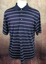 PGA Tour Golf Polo Shirt Navy Blue & White Stripe Polyester Dry Men's Large