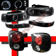 99-02 Chevy Silverado Stepside Halo LED Projector Headlights Bumper Tail Lights