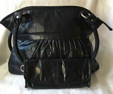 LATICO Black Leather Large Tote Bag Purse Handbag-NICE-With Clutch Wallet