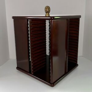 The Bombay Company Rotating 64 CD Carousel Cherry Stained Wood Organizer Holder