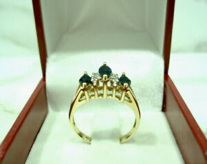 Yellow Gold Ring 18 Carats 750/00 Sapphire and Diamond