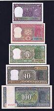 11-00644&953 # INDIA | GHANDHI COMMEMORATIVE SET, 1-100 RS, 1969, 5 NOTES, XF-AU