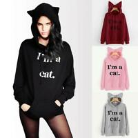 Women's Casual Sweater Letter Print 'I AM A Cat' Ear Pullover Hoodie Tops mzus