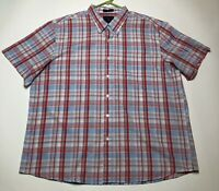 Saddlebred Men's XXL Red Blue Check Plaid Button Down Shirt Short Sleeves Casual