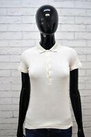 Polo RALPH LAUREN Donna XS Shirt Manica Corta Maglia Beige T-Shirt Elastica Slim