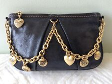 Juicy Couture Damas De Cuero Real Negro Brillante Cartera Bolso de Maquillaje CLUTCHBAG
