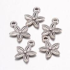 6 Flower Charms Antique Silver Tone Garden Pendants Spring Findings 14mm