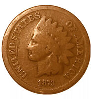 1873 United States Indian Head One Cent Penny F Fine Open 3, Free Shipping *3042